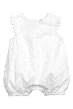 Barboteuse brodée en coton - Blanc - ENFANT | H&M CA 1