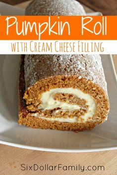 cuban dessert recipes, cookie dessert recipes, easter recipes desserts - Pumpkin Roll with Cream Cheese Filling - Sweet, creamy and bursting with pumpkin flavor, this Pumpkin Roll with Cream Cheese Filling recipe is the perfect taste of fall! Beaux Desserts, Holiday Desserts, Just Desserts, Delicious Desserts, Dessert Recipes, Yummy Food, Easter Recipes, Fall Recipes, Fall Baking