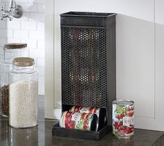 Perforated Storage Can Storage  way better than exposed cans in the pantry :)