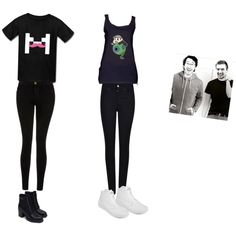 Markiplier and Jacksepticeye outfits by clar261 on Polyvore featuring polyvore, fashion, style, Current/Elliott, Armani Jeans, Zara, Vans and clothing