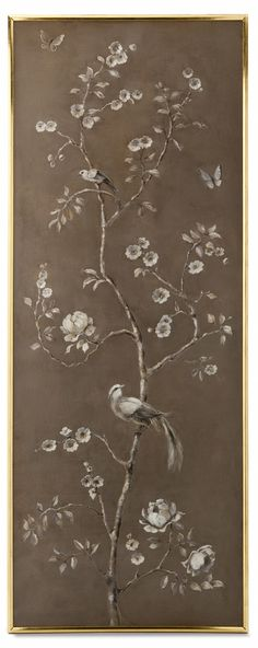 Uccello I Panel from Collection Ten by Ebanista. Antiqued dove oil painting in… Chinoiserie, Hand Painted Wallpaper, Chinese Patterns, Wall Treatments, Oil Painting On Canvas, Chinese Art, French Antiques, Painted Furniture, Wall Art