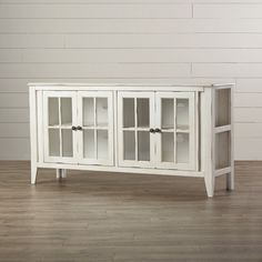 August Grove Purington TV Stand for TVs up to Color: Rustic White White Tv Stands, Cool Tv Stands, Tv Stand Showcase, Cool Furniture, Painted Furniture, Furniture Logo, Furniture Removal, Luxury Furniture, Furniture Design