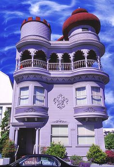 Purple Victorian House With Moorish Top And Clouds, San Francisco By Mitchell Funk,