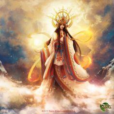 """Amaterasu Omikami ('the great divinity illuminating heaven') is the sun goddess, the most important deity of the Shinto religion&. Japanese Goddess, Japanese Mythology, Fantasy Landscape, Fantasy Art, Amaterasu Omikami, Dark Spirit, Goddess Art, Divine Goddess, Madara Uchiha"