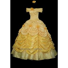 Beauty and the Beast Belle Parade Gown Custom Costume ❤ liked on Polyvore featuring costumes, stitch costume, belle halloween costume, stitch halloween costume and belle costume