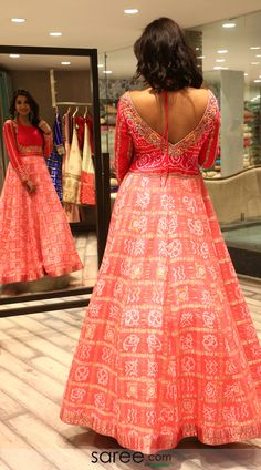 Peach and red bandhej print floor length gown Bandhani Dress, Anarkali Dress, Indian Designer Outfits, Designer Dresses, Stylish Dresses, Fashion Dresses, Party Wear Long Gowns, Cotton Saree Blouse Designs, Indowestern Gowns