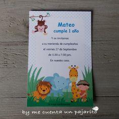 Invitación de cumpleaños del explorador de safari, con mono, león, elefante y la jirafa