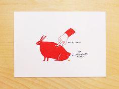 Red Animal Postcards (Set of 4). $8.00, via Etsy.