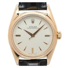 Rolex Yellow Gold Oyster Perpetual Wristwatch Ref 6598 Rolex Watches, Men's Rolex, Rolex Oyster Perpetual, Vintage Models, Vintage Watches, Oysters, Yellow, Antiques, Pocket Watches