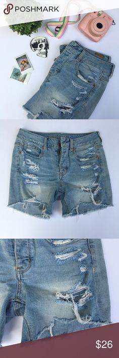 distressed american eagle shorts american eagle stretch shorts, distressed. size 4. fits on hips. perfect condition. 🌸 I am professional ballerina making some extra income. I am open to offers/negotiations on prices, just keep in mind poshmark does take 20%. I am not responsible for wrong fit/not reading the descriptions. ask questions! ❤ thank you for shopping! 🌸 American Eagle Outfitters Shorts