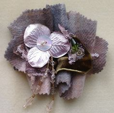 Heather brooch made with cashmere and silk velvet embellished with beads