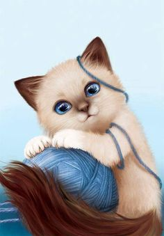 New 2017 Diamond painting animal Diamond painting cat painting rhinestone diamond embroidery diamant painting mosaic pictures Baby Animals, Cute Animals, Image Chat, Cute Animal Drawings, Cat Drawing, Crazy Cats, Cat Art, Cats And Kittens, Cute Cats