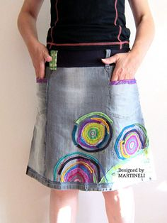 S/M Crazy Patchwork Skirt Appliqued Denim Upcycled Clothing Denim Recycled Boho Skirt Gypsy Style Embroidered Skirt I designed and constructed this Denim Patchwork Skirt. I used techniques as sewing and applique. This boho hippie skirt can be weared on special occasions or when you want to
