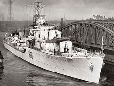 HMS Zambezi on the ship canal ,she was commissioned July 1944 scrapped February 1959 Bridgewater Canal, Manchester Police, Salford, Local History, Royal Navy, Battleship, Bridges, Trains, February
