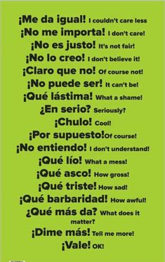 Spanish Grammar, English Vocabulary Words, Spanish English, English Phrases, Teaching Spanish, Spanish Slang Words, Spanish Activities, Common Phrases In Spanish, Spanish Idioms