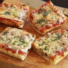 French bread pizza, for a quick & easy lunch... {Bread, cheese, bake. Sauce, cheese, bake some more :]  Yum}