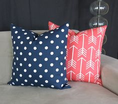 Decorative Throw Pillow Covers Coral & Navy by DeliciousPillows
