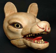 Antique Japanese Kyogen Fox Mask