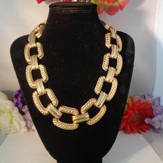 """10% of 3152017 Vintage Givenchy Gold Plated Necklace that has wide large links and measures 20"""" long. Weighs 7 ounces. by CCCsVintageJewelry on Etsy"""