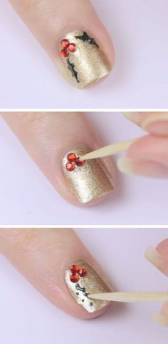Holly Click Pic for 20 Easy Christmas Nails Art Designs Winter Easy Nails… Christmas Nail Art Designs, Holiday Nail Art, Winter Nail Art, Winter Nails, Holiday Mood, Christmas Design, Summer Nails, Diy 3d Nails, Cute Nails