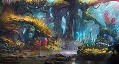 The whispering Forest, Geoffrey Ernault on ArtStation at https://www.artstation.com/artwork/the-whispering-forest