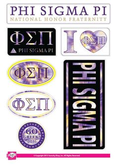 """Get your """"Greek On"""" with these high quality, Tie Dye stickers! Each sheet contains 7 stickers ranging in size from a circle to a generous rectangle. Printed on sturdy vinyl, they are easily Phi Sigma Pi, Omega Psi Phi, Delta Phi Epsilon, Kappa Kappa Gamma, Eye Black Stickers, Sorority Letters, Big Little Gifts, Fraternity, Sticker Design"""