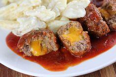 BBQ Cheddar Stuffed Meatballs