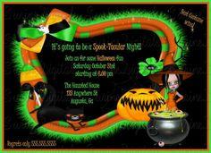 Witch and Cauldron Halloween Costume party Invitation/ Child Halloween Birthday…