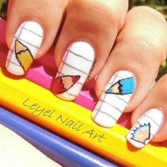 Back to School Nails. You\'d probably get suspended for such loud ...