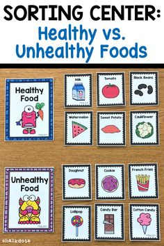 This hands-on sorting activity is a fun way to help your children learn about foods and can be used to supplement your nutrition unit. It includes two different sorting sets: food groups and healthy f Nutrition Education, Sport Nutrition, Nutrition Tips, Health And Nutrition, Child Nutrition, Nutrition Quotes, Nutrition Month, Nutrition Shakes, Healthy Food Activities For Preschool