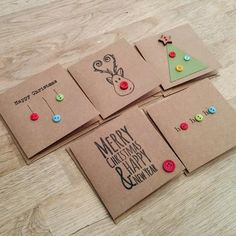 Pack of 5 cute handmade Christmas cards with buttons - reind.- Pack of 5 cute handmade Christmas cards with buttons – reindeer, christmas tree, baubles, ho ho ho - Homemade Christmas Cards, Christmas Gift Tags, Xmas Cards, Simple Christmas, Handmade Christmas, Christmas Crafts, Reindeer Christmas, Button Christmas Cards, Christmas Envelopes