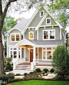new Ideas house design exterior colors white trim House Exterior Color Schemes, Design Exterior, Exterior Paint Colors For House, Dream House Exterior, Paint Colors For Home, Gray Exterior, Exterior Siding, Gray Siding, Paint For House