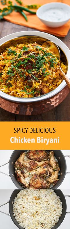 Chicken Biryani is a delicious savory rice dish that's loaded with spicy marinated chicken, caramelized onions, and flavorful saffron rice. (Chicken Meals With Rice) Indian Food Recipes, Asian Recipes, Healthy Recipes, Ethnic Recipes, Vegetarian Recipes, Healthy Food, Comida India, Savory Rice, India Food