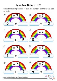 Rainbow Number Bonds Worksheet to 7