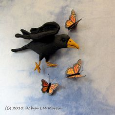 Primitive Crow Doll Butterflies Wall Hanging by MotherlodeToad, $30.00