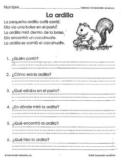 LECTURAS DE COMPRENSION.                                             ... Spanish Lessons For Kids, Teaching Spanish, Spanish Notes, Spanish Class, Centers First Grade, French Practice, Spanish Worksheets, Spanish Language, Elementary Education