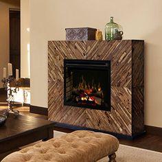 Harris Electric Fireplace Mantel w/ Logs in Natural Acacia - GDS33L4-1557CS