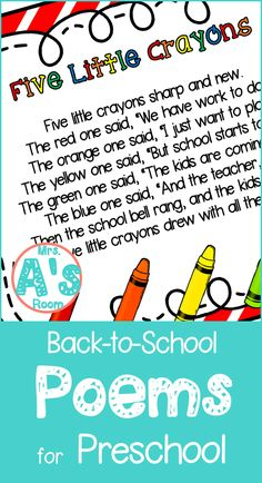 Back-to-School Poems for Preschool | Mrs. A's Room