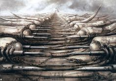 """'DUNE' House Harkonnen Concept Art by H. Giger - director Alejandro Jodorowsky attempted to create a big-screen adaptation of Frank Herbert's science fiction novel """"Dune."""" created incredible concept art for the film, at that time. Alien Artist, Arte Alien, Chur, Xenomorph, Storyboard, Aliens, Jodorowsky's Dune, Hr Giger Art, Giger Alien"""