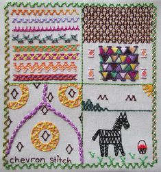 Embroidered sampler of chevron stitch for TAST week 6