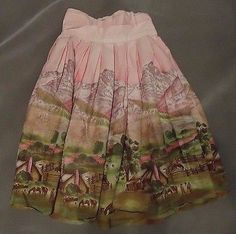 "Vintage ""Western Corral"" Scenic  Border Print Skirt"