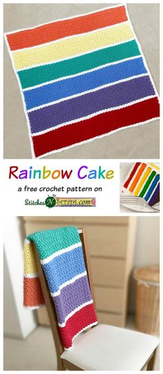 Rainbow Cake Blanket - a free pattern on StitchesNScraps.com  Made with Baby Hugs Medium :)
