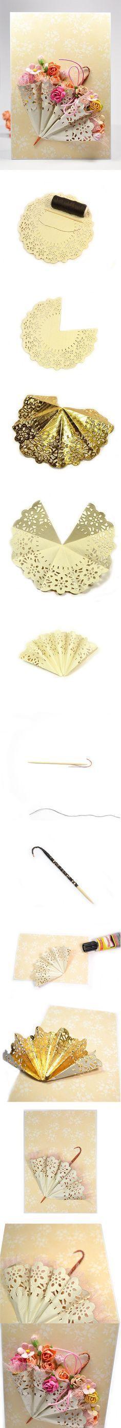 DIY Cute Mini Umbrella with Paper Doily. http://www.fabartdiy.com/diy-cute-mini-umbrella-with-paper-doily/