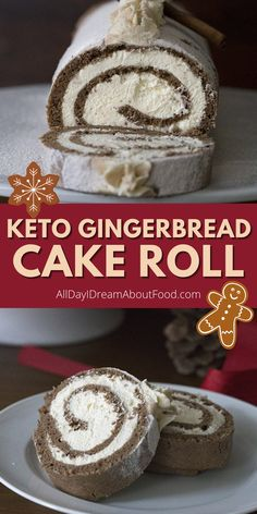 This low carb gingerbread cake roll is holiday happiness in a sweet little package. Full of sugar-free vanilla cream, it's a keto dessert you won't want to miss. Low Carb Sweets, Low Carb Desserts, Fun Desserts, Dessert Recipes, Keto Holiday, Holiday Baking, Free Keto Recipes, Ketogenic Recipes, Gingerbread Cake