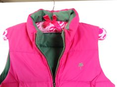 Lilly Pulitzer Down Puffer REVERSIBLE Vest  Green & Hot Pink Size M. Great Cond. #LillyPulitzer #Puffer