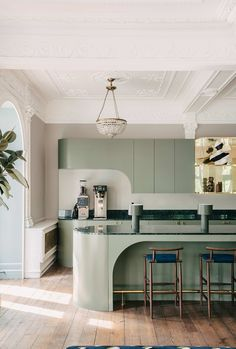 London design studio Sella Concept reimagine a staggering former home for as an inspiring new GovTech focussed co-workspace… - Modern Interior Design Minimalist, Interior Design Kitchen, Modern Interior, Minimalist Style, Design Bathroom, Minimalist Kitchen, Kitchen Designs, Modern Furniture Design, Green Interior Design