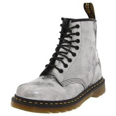 Dr. Martens 1460 Jewel Classics Women's Silver Leather Boots, 9 UK ❤ liked on Polyvore