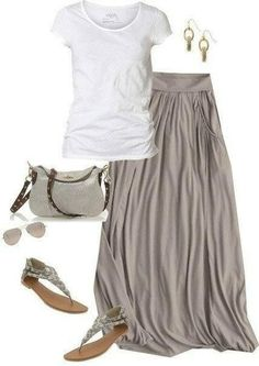 COMODIDAD....I absolutley love this...the long grey skirt and white tee...the sandals are so cute too!!!