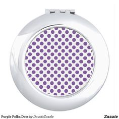 Purple Polka Dots Compact Mirror  Available on many products! Hit the 'available on' tab near the product description to see them all! Thanks for looking!     @zazzle #art #polka #dots #shop #chic #modern #style #circle #round #fun #neat #cool #buy #sale #shopping #men #women #sweet #awesome #look #accent #fashion #clothes #apparel #tote #bag #accessories #accessory #compact #mirror #hand #purse #clutch #cosmetic #makeup #messenger #bicycle #purple #white
