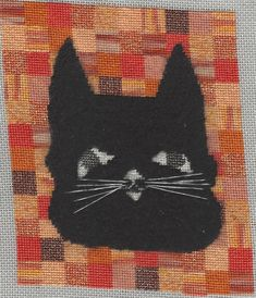 Halloween cat needlepoint, free project from Nuts about Needlepoint